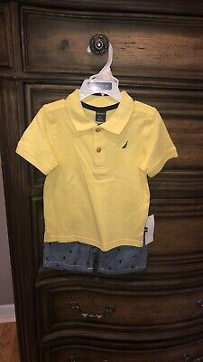 2t Boy's Nautica 2 Piece Set with Solid Polo And Sailboat Shorts