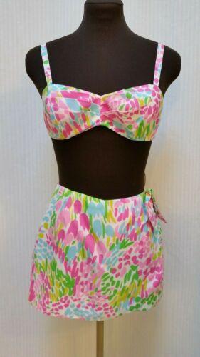2 Piece Vintage Gabar NEW YORK Floral Print Playsuit Swimsuit Bikini - Size XS/S
