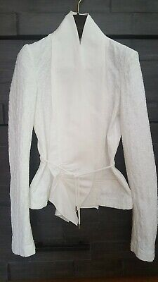 THE ROW IVORY TEXTURED COTTON AND LINEN CHARLDORF JACKET SIZE 4