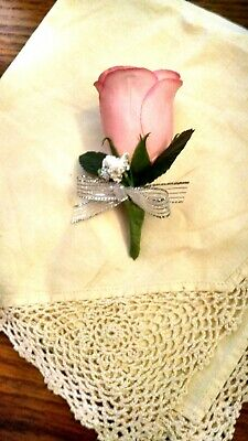 Pink Silk Rose Boutonniere - Groom/Groomsman -Wedding-Celeb-Prom flowers