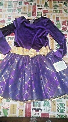 Bonnie Jean size 10 Purple & Gold Velour Sheer Layered EASTER DRESS BNWT RET$64