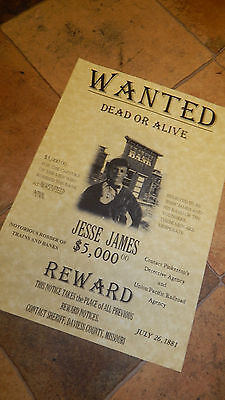 Jessie James WILD WEST WANTED POSTER, Novelty reproductions, WESTERN COLT