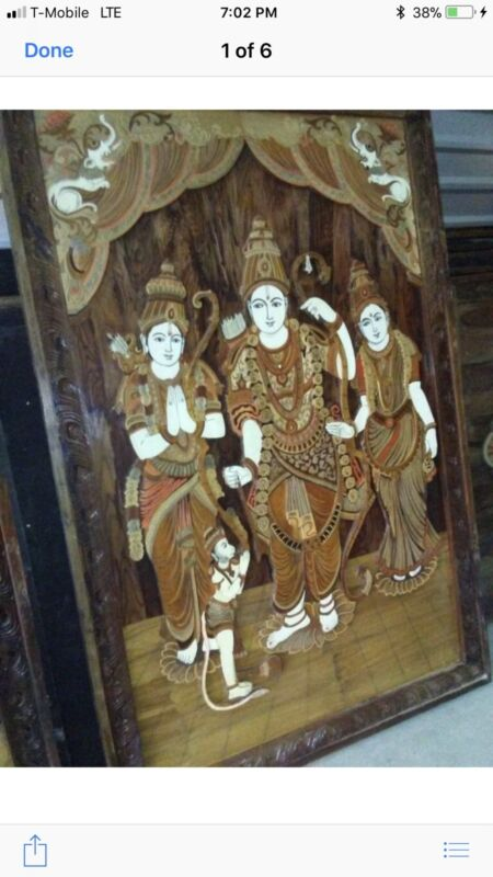 Huge Vintage India Wooden Wall Panel Carved / Inlaid Hindu Religious Art