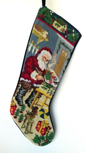 Vintage Christmas Wool NEEDLEPOINT STOCKING Santa Workshop Painting Blue Velvet
