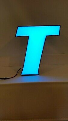Letter T Retro Marquee Channel Letter T Vintage Sign Blue With Led Lights
