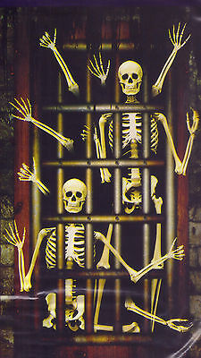 6-Ft. Skeletons in a Torture Dungeon Silhouette Halloween Wall Murale  - Halloween Silhouettes Skeleton