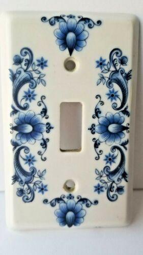 J M Limoges Porcelain Floral SINGLE Light Switch Plate Covers Vintage France