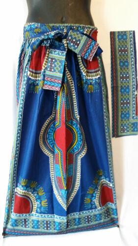 Ankara African Maxi Women Skirt Dashiki Print 2 Pocket & Belt Free Size Blue