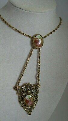 Lovely Vintage Courting Couple Romance Porcelain Double Pendant Pearl Necklace