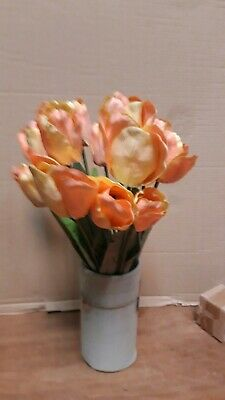 1 Bund Kunst - Tulpen lachsfarben aus Kunstmaterial Messeware Florisik Neu