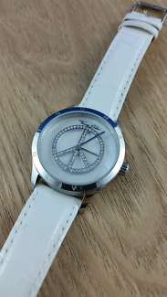 Thomas Sabo peace watch with white leather band crystals