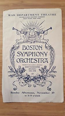 1944 WAR DEPARTMENT THEATRE PROGRAM Boston Symphony Koussevitzky West Point USMA