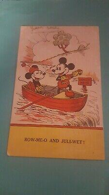 c. 1930's Walt Disney Mickey Minnie Mouse England in boat Postcard