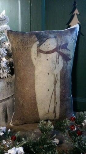 PRIMITIVE VINTAGE FOLK ART CABIN STYLE CHRISTMAS SNOWMAN WINTER 1816 PILLOW