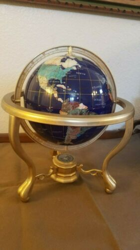 Beautifu lLapis Lazuli & Semi Precious Gemstone World Globe on Stand w/ Compass