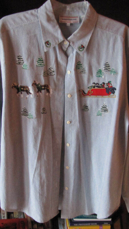 Westbound Casual Women's Large 100% Cotton Christmas Shirt UGLY SWEATER PARTY