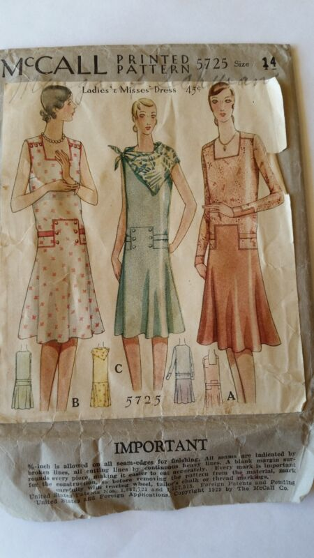 *RARE Antique Sewing Pattern-Ladies Dress 1920