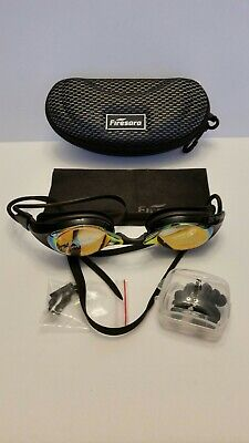 Firesara BLACK Swimming Goggles, Nose & Ear Plugs & Cleaning Cloth w/ Case - (Cleaning Swim Goggles)