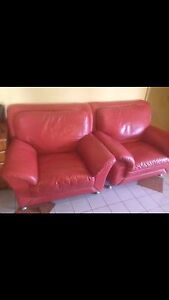 Red leather sofa Alexander Heights Wanneroo Area Preview