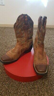 Women 8 Brown 2Tone Tony Lama Boots Work Shoe Square Toe Comfortable Lucky Star Tony Lama Stars