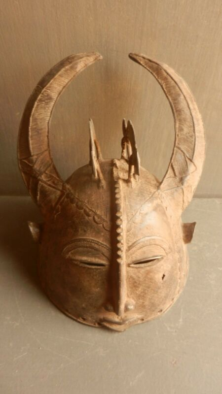 Gan Loropeni Bronze Head Helmet Mask. African tribal art Burkina Faso