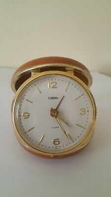 "Vintage ""Coral"" Traveling Alarm Clock, Leather Covered Hunter Case, Working"