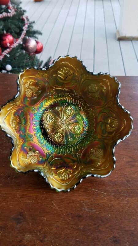 Fenton Carnival Glass Green Almost Emerald Dragon & Lotus Bowl Awesome Color