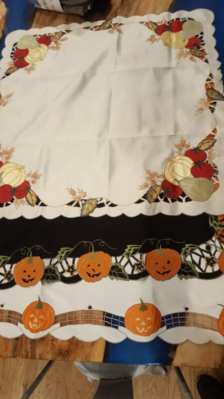 "3 Halloween Pumpkin Table Toppers 34"" x 34"""