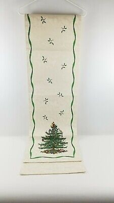SPODE Christmas Tree Ivory Table Runner 88 Inches x 13 3/4 Inches Read Descrip.