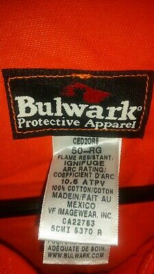 Bulwark Flame Resistant Coveralls Size 50 Regular Orange