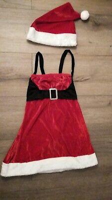 Weihnachtsfrau Kostüm Miss Santa Kleid Weihnachtskostüm mit Plüsch Mütze