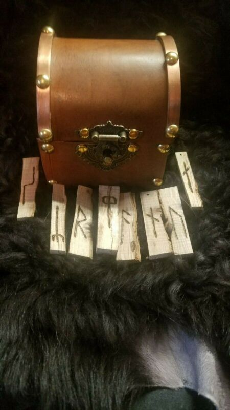 Rune stave set, Danish long branch on spalted ash with leather and wood box