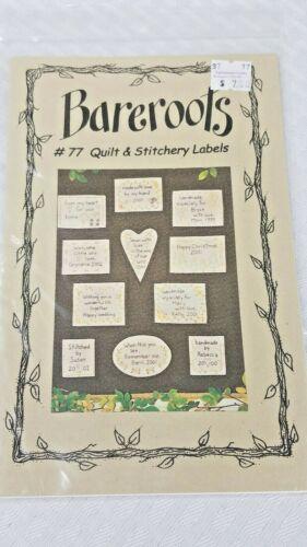 Bareroots Pattern  #77 Quilt & Stitchery Labels- Embroidered Quilt Labels