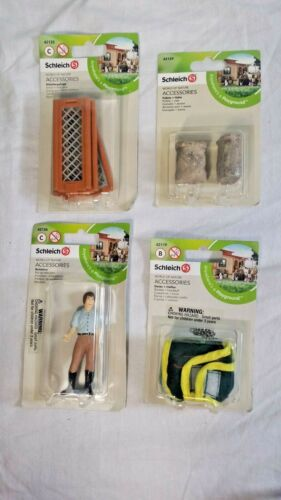 Lot of 4 Schleich World of Nature Accessories Riding Instructor Blanket Pen Oats