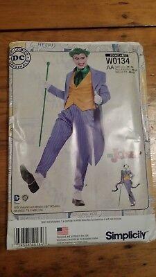 SIMPLICITY JOKER MENS COSTUME PATTERN W0134 SIZE 38-44  FREE SHIPPING  - Joker Halloween Costume Pattern