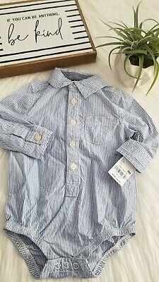 Dress Shirt Bodysuit (OshKosh- Navy Stripped Dress Shirt Bodysuit-)