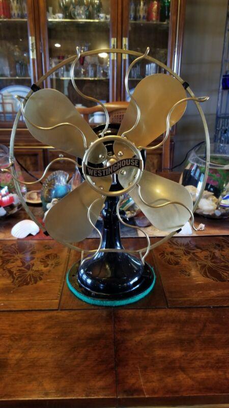 Vintage Westinghouse 12 inch Brass Blade fan Restored