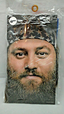 Fake Red Beards (Duck Dynasty Willie Halloween Bearded Bandana Mask  Faux Fur Red White)