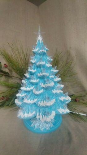 "Ceramic Christmas Tree Lighted Nowell 14"" Turquoise Blue - Flocked - Holly Base"