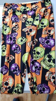 LuLaRoe TC2 Halloween Leggings Skulls with Orange and Black Stripes  TC1770](Orange And Black Striped Leggings)