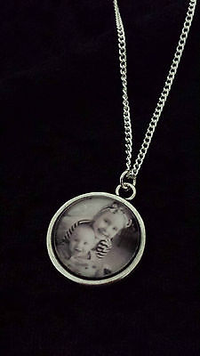 PERSONALISED necklace ANY photo picture pendant & chain MEMORIAL pets dog cat