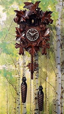 Kuckucksuhr geschnitzt Quarz Uhr Kuckuckuhr 5 Laub Vogel Schwarzwald  23 cm NEU