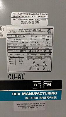 Rex Manufacturing Isolation Tran 14kva 3ph Pri220v Sec 400v Da14c2n1k4