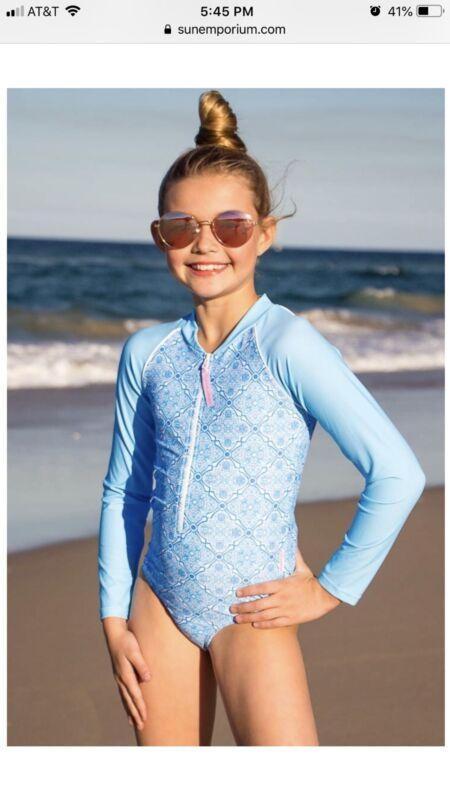 NWT Sun Emporium Girls Surf Beach Pool Suit Long Sleeve Size 10