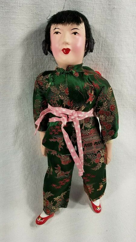 Vintage 11.5 Composition/Cloth Chinese Doll Brocade Dress Carrying Baby on Back