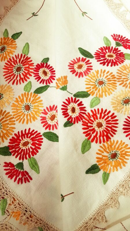 VINTAGE HAND EMBROIDERED TABLECLOTH-BEAUTIFUL DISPLAYS OF CHRYSANTHEMUMS - MUMS