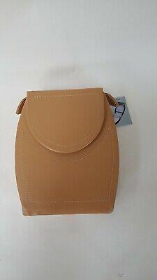 1990s vinyl jewellery box travel case soft velvet lining beige