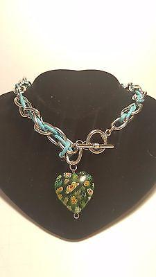 Millefiori Green Heart Glass Jewelry Blue Chain Stylish Necklace  20