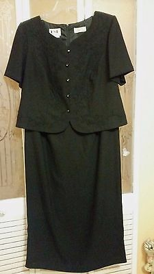 Ksl Ladies Embroidered Floral Black Dress    Size 14W