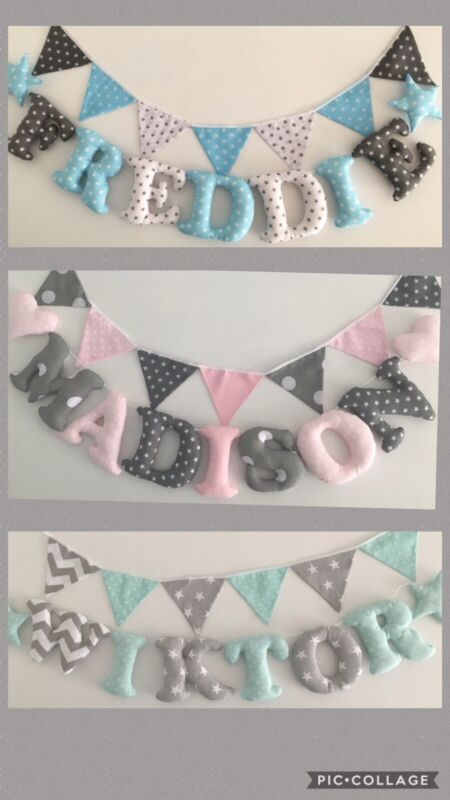 Personalised Nursery Fabric Letters Garland Wall Decor Baby Shower Gift Handmade